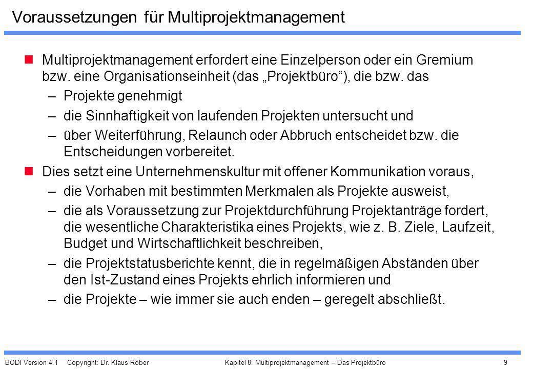 BODI Version 4.1 Copyright: Dr. Klaus Röber 9 Kapitel 8: Multiprojektmanagement – Das Projektbüro Voraussetzungen für Multiprojektmanagement Multiproj