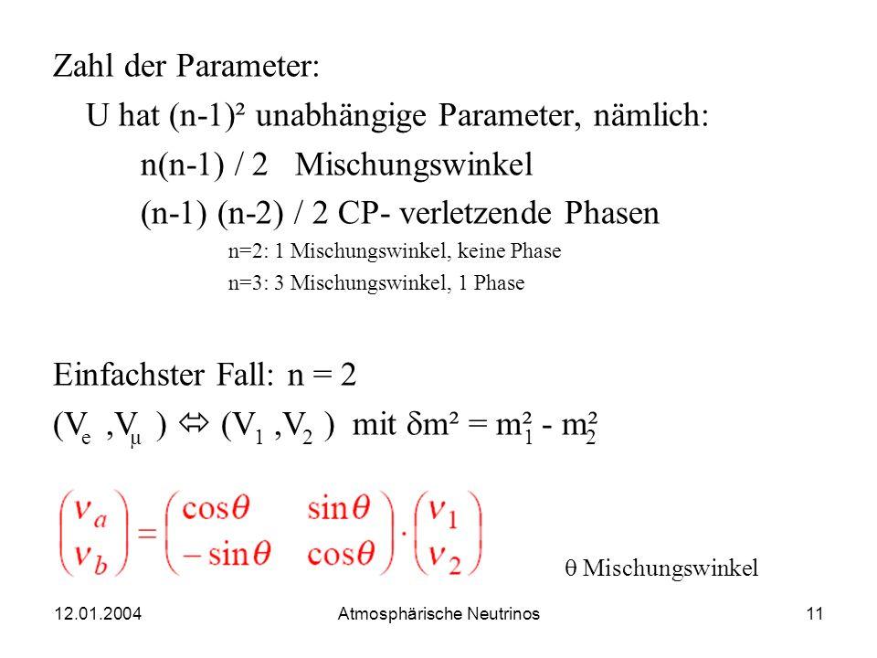 12.01.2004 Atmosphärische Neutrinos10 Allgemeiner Fall: Oszillation im Vakuum Zwei orthonormierte Systeme von v-Zuständen Flavor-Eigenzustände Massen-