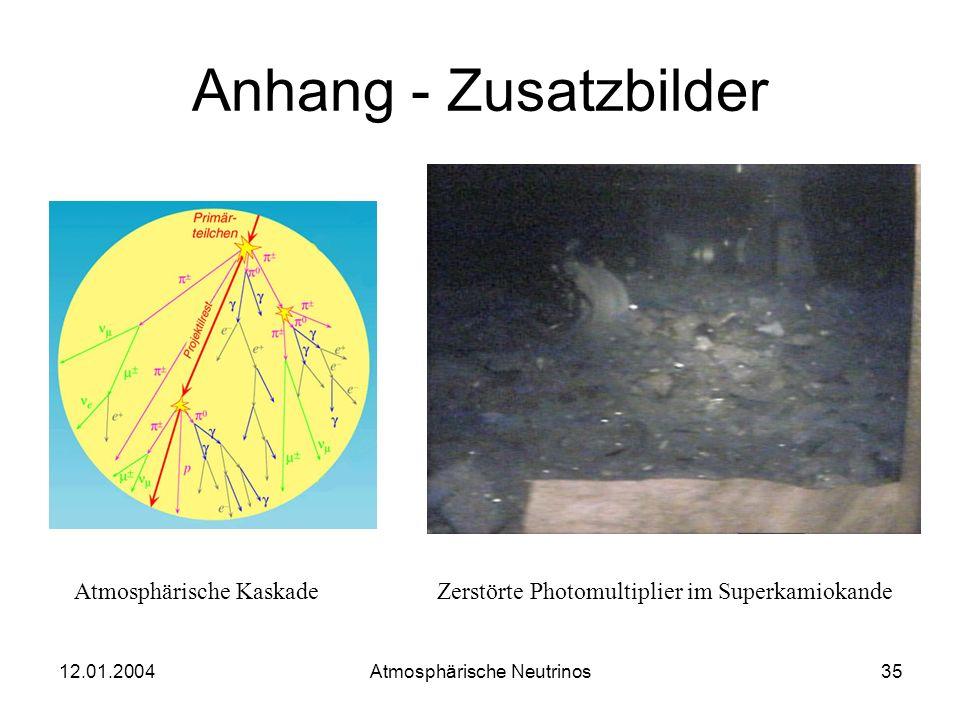 12.01.2004 Atmosphärische Neutrinos34 Zusammenfassung Erkenntnisse belegen die Oszillation der atmospärischen Neutrinos; Neutrinos haben Masse! Hinwei