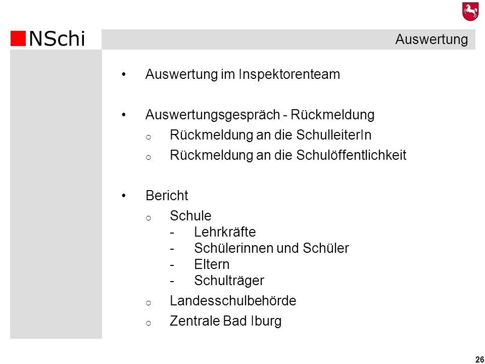 NSchi 26 Auswertung im Inspektorenteam Auswertungsgespräch - Rückmeldung Rückmeldung an die SchulleiterIn Rückmeldung an die Schulöffentlichkeit Beric