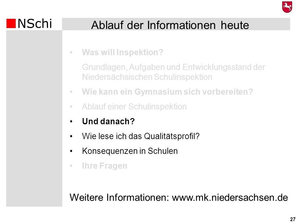 NSchi 27 Was will Inspektion? Grundlagen, Aufgaben und Entwicklungsstand der Niedersächsischen Schulinspektion Wie kann ein Gymnasium sich vorbereiten