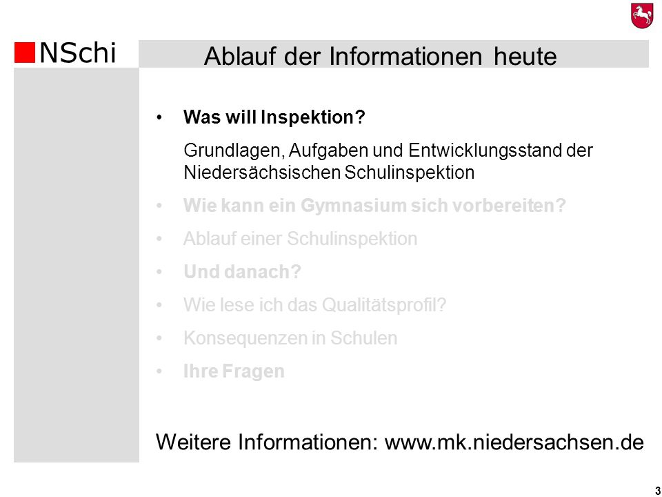 NSchi 3 Was will Inspektion? Grundlagen, Aufgaben und Entwicklungsstand der Niedersächsischen Schulinspektion Wie kann ein Gymnasium sich vorbereiten?