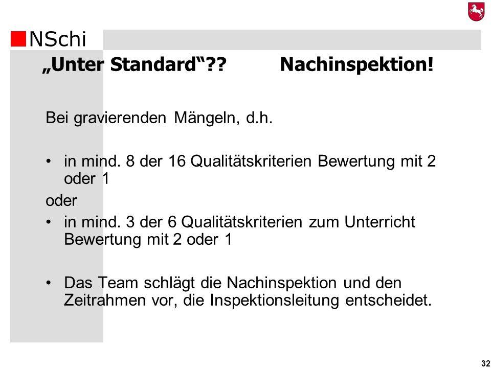 NSchi 32 Unter Standard?? Nachinspektion! Bei gravierenden Mängeln, d.h. in mind. 8 der 16 Qualitätskriterien Bewertung mit 2 oder 1 oder in mind. 3 d
