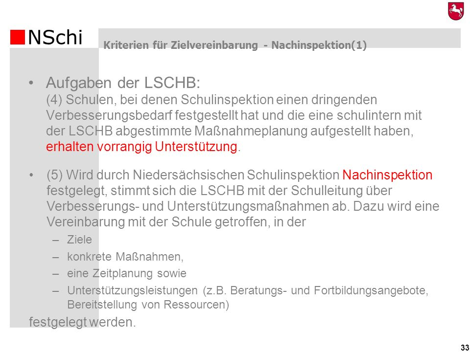 NSchi 33 Kriterien für Zielvereinbarung - Nachinspektion(1) (5) Wird durch Niedersächsischen Schulinspektion Nachinspektion festgelegt, stimmt sich di