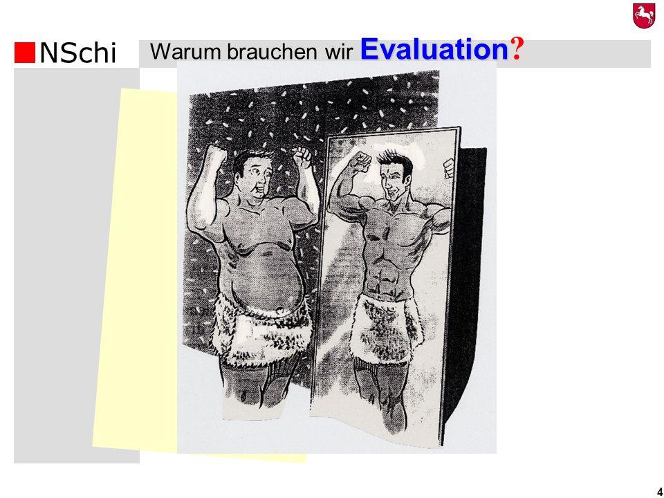 NSchi 5 Erfolgs- kontrolle Entwicklung Wirkungs- kontrolle Rechenschaft – nach außen Qualitätssicherung nach innen Warum wird evaluiert.