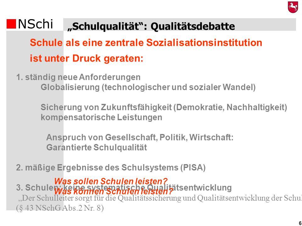 NSchi 6 Schulqualität: Qualitätsdebatte Schule als eine zentrale Sozialisationsinstitution ist unter Druck geraten: 1. ständig neue Anforderungen Glob