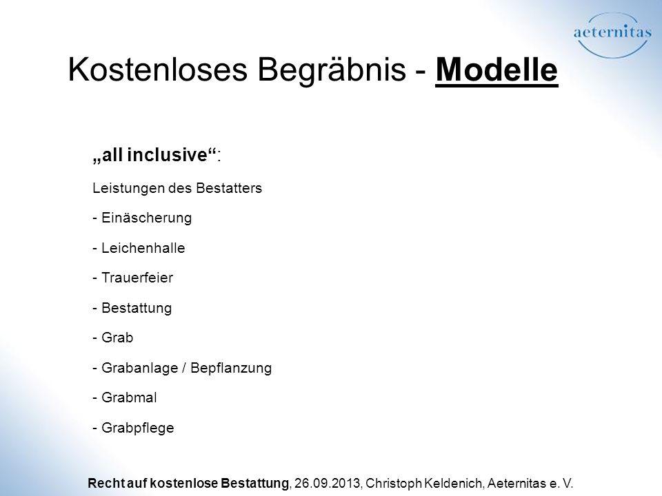 Recht auf kostenlose Bestattung, 26.09.2013, Christoph Keldenich, Aeternitas e. V. Kostenloses Begräbnis - Modelle Leistungen des Bestatters - Einäsch