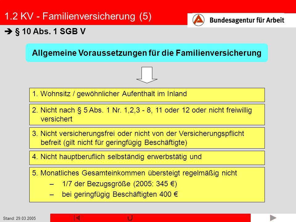 Stand: 29.03.2005 1.2 KV - Familienversicherung (5) § 10 Abs. 1 SGB V 1. Wohnsitz / gewöhnlicher Aufenthalt im Inland Allgemeine Voraussetzungen für d