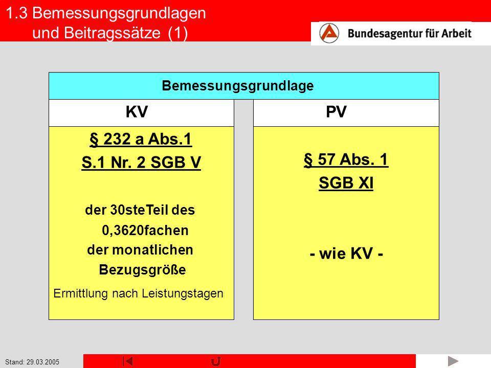 Stand: 29.03.2005 1.3 Bemessungsgrundlagen und Beitragssätze (1) § 232 a Abs.1 S.1 Nr. 2 SGB V der 30steTeil des 0,3620fachen der monatlichen Bezugsgr