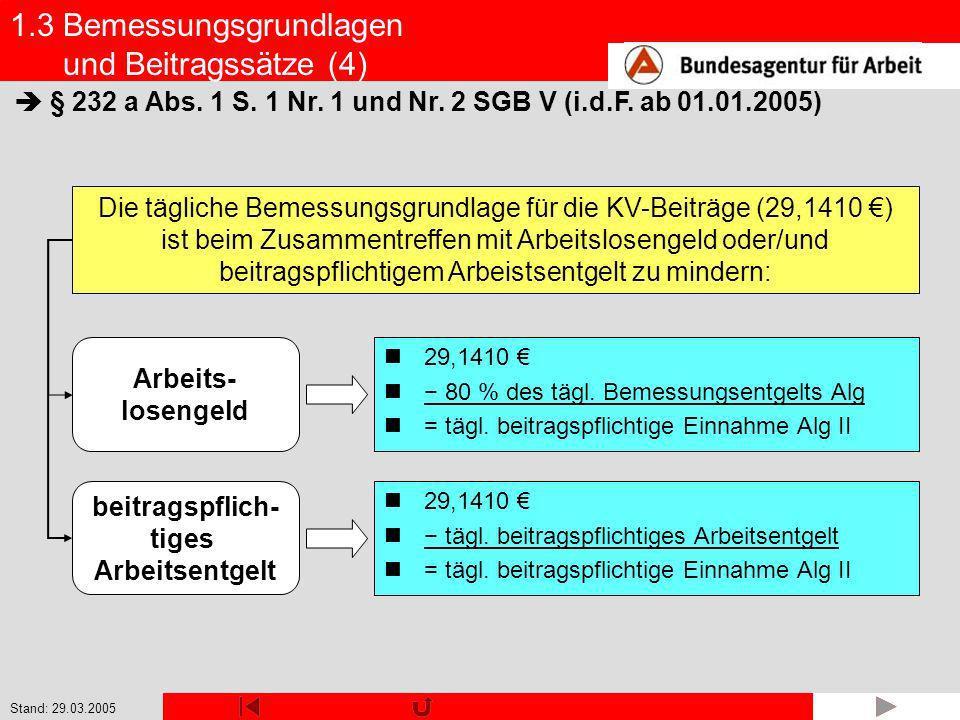 Stand: 29.03.2005 beitragspflich- tiges Arbeitsentgelt Arbeits- losengeld 1.3 Bemessungsgrundlagen und Beitragssätze (4) § 232 a Abs. 1 S. 1 Nr. 1 und