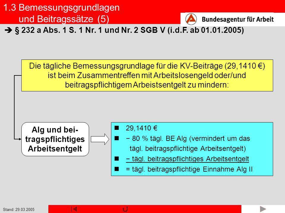 Stand: 29.03.2005 Alg und bei- tragspflichtiges Arbeitsentgelt 1.3 Bemessungsgrundlagen und Beitragssätze (5) § 232 a Abs. 1 S. 1 Nr. 1 und Nr. 2 SGB