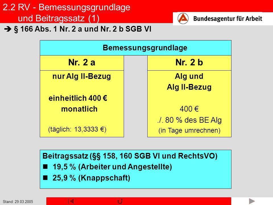Stand: 29.03.2005 2.2 RV - Bemessungsgrundlage und Beitragssatz (1) Alg und Alg II-Bezug 400./. 80 % des BE Alg (in Tage umrechnen) Bemessungsgrundlag
