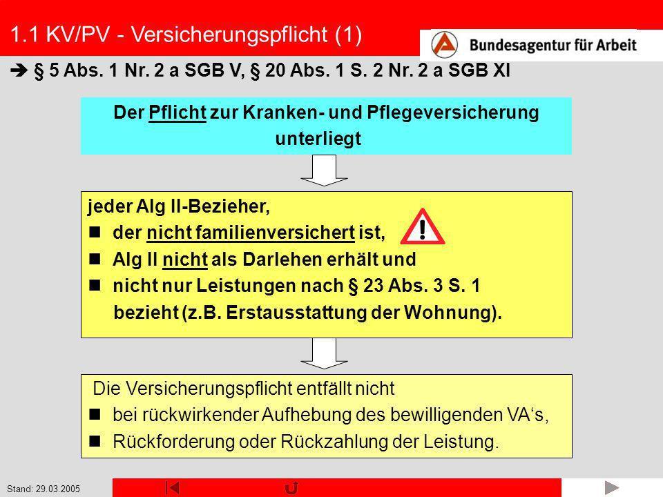 Stand: 29.03.2005 1.2 KV - Familienversicherung (9) Beispiel 4: Herr Kurt K.