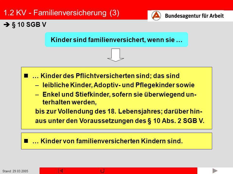 Stand: 29.03.2005 1.2 KV - Familienversicherung (4) § 10 Abs.