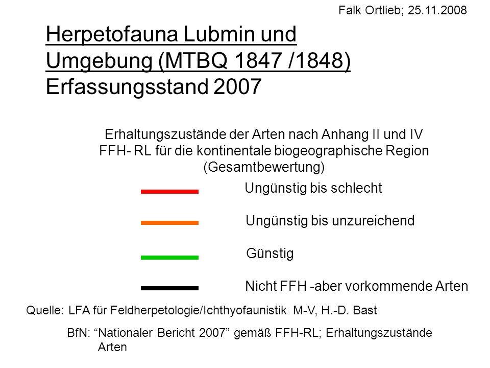 Erhaltungszustände der Arten nach Anhang II und IV FFH- RL für die kontinentale biogeographische Region (Gesamtbewertung) Ungünstig bis schlecht Ungün