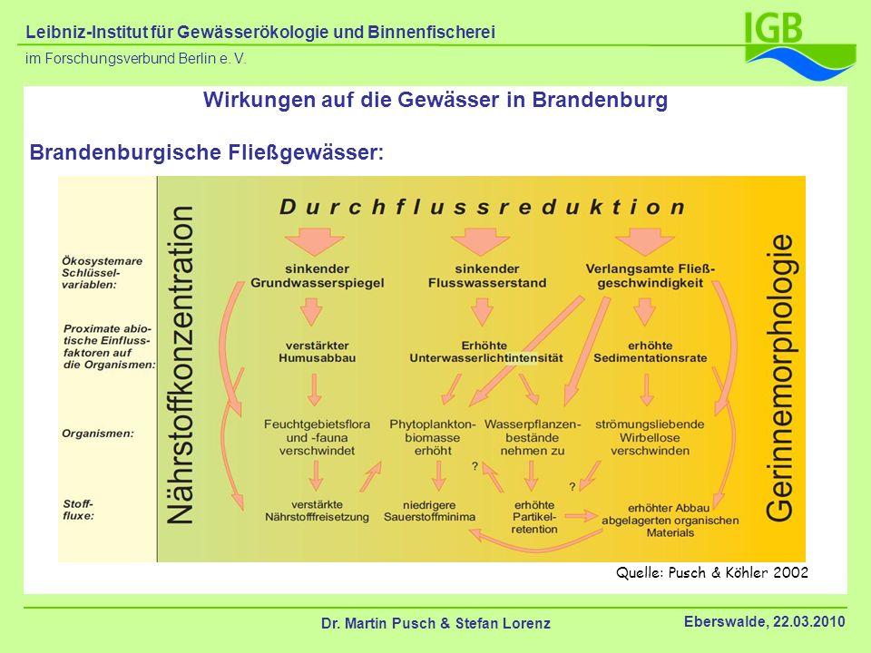 Quelle: Pusch & Köhler 2002 Wirkungen auf die Gewässer in Brandenburg Brandenburgische Fließgewässer: Dr. Martin Pusch & Stefan Lorenz Eberswalde, 22.