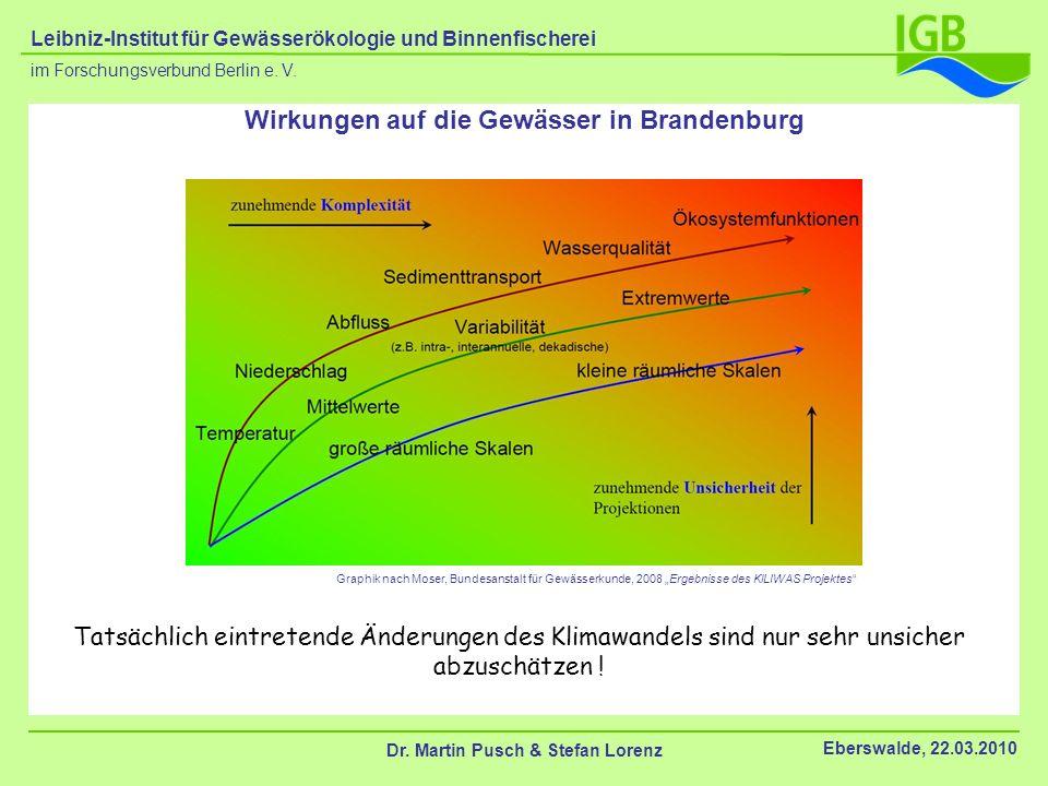 Wirkungen auf die Gewässer in Brandenburg Dr. Martin Pusch & Stefan Lorenz Eberswalde, 22.03.2010 im Forschungsverbund Berlin e. V. Leibniz-Institut f