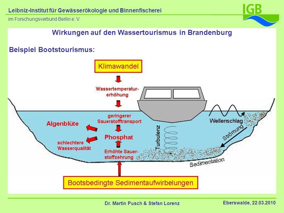 Beispiel Bootstourismus: Wirkungen auf den Wassertourismus in Brandenburg Dr. Martin Pusch & Stefan Lorenz Eberswalde, 22.03.2010 im Forschungsverbund