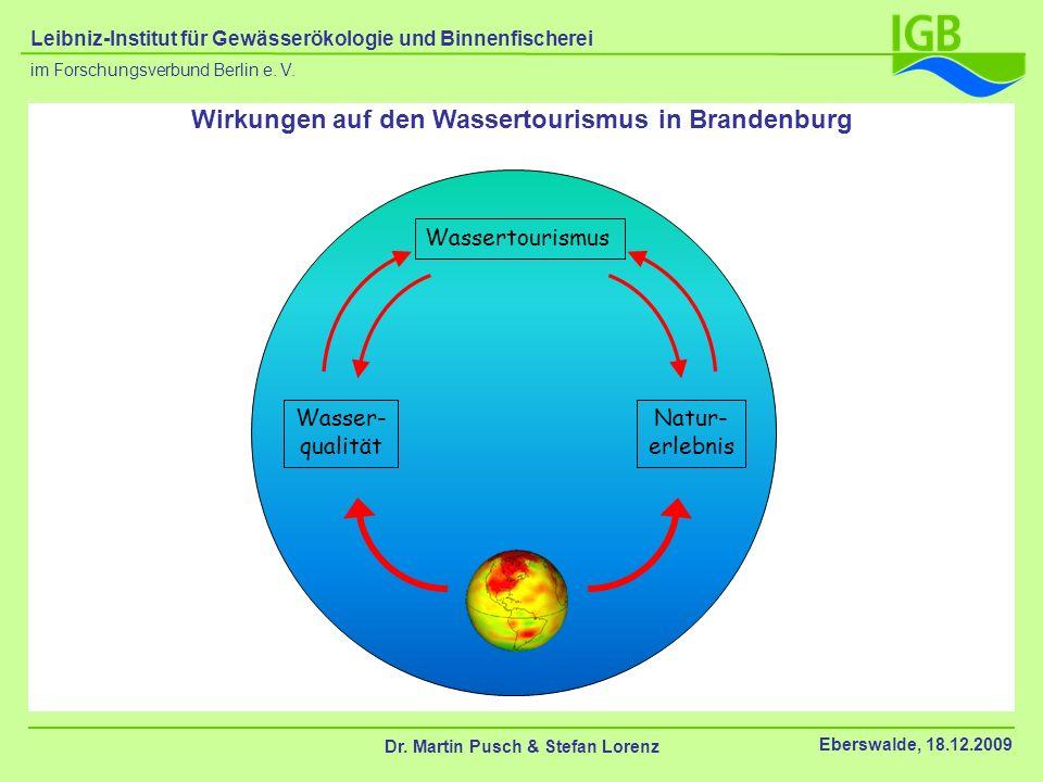 Wirkungen auf den Wassertourismus in Brandenburg Wassertourismus Wasser- qualität Natur- erlebnis Dr. Martin Pusch & Stefan Lorenz Eberswalde, 18.12.2