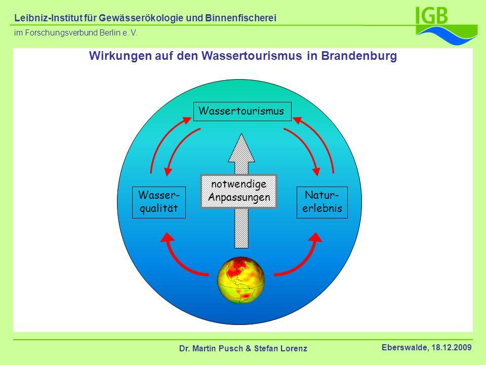 Wirkungen auf den Wassertourismus in Brandenburg Wassertourismus Wasser- qualität Natur- erlebnis notwendige Anpassungen Dr. Martin Pusch & Stefan Lor