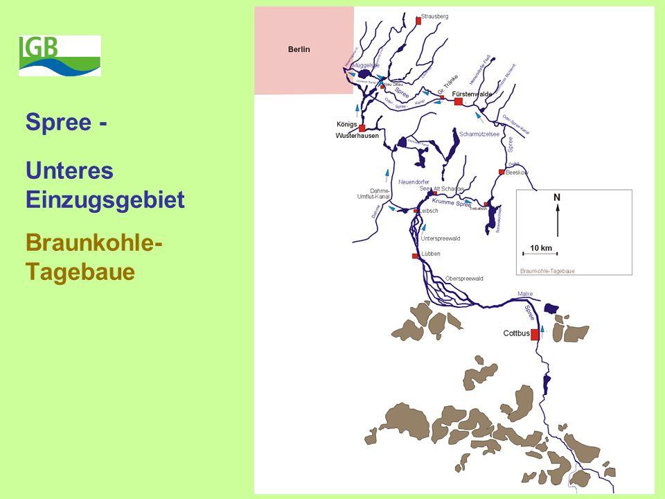 Spree - Unteres Einzugsgebiet Braunkohle- Tagebaue
