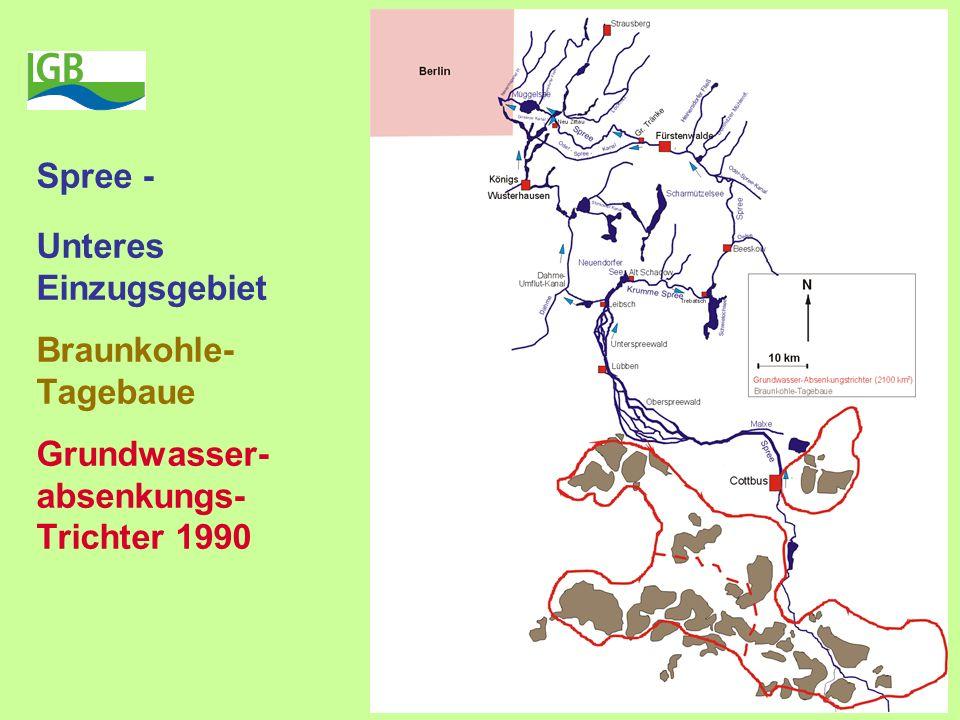 Spree - Unteres Einzugsgebiet Braunkohle- Tagebaue Grundwasser- absenkungs- Trichter 1990