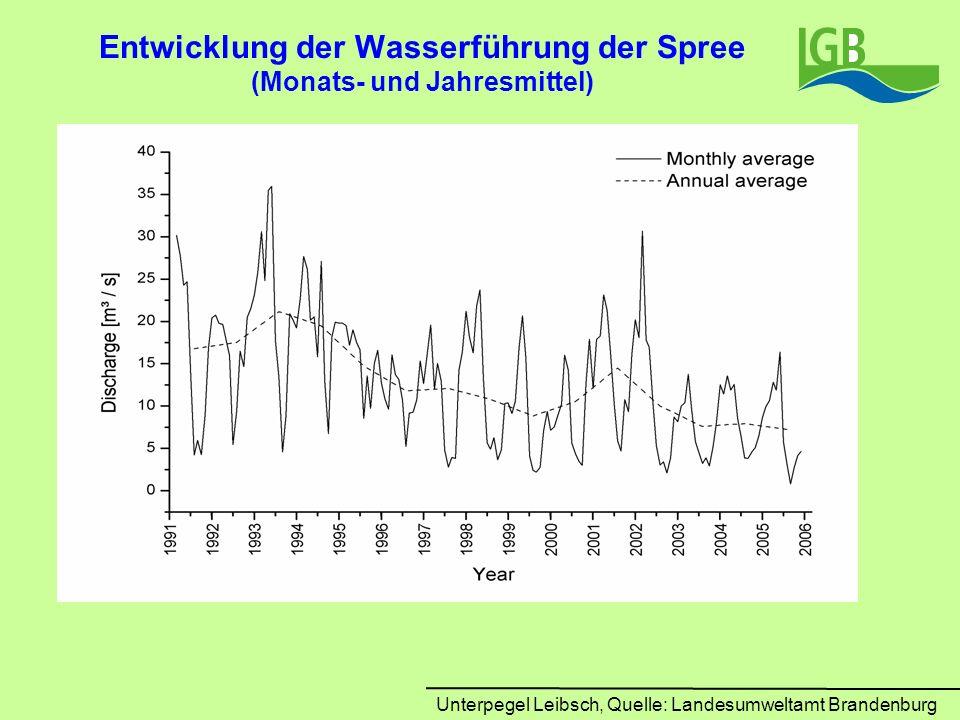 Entwicklung der Wasserführung der Spree (Monats- und Jahresmittel) Unterpegel Leibsch, Quelle: Landesumweltamt Brandenburg
