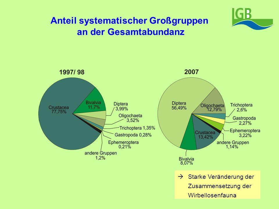 Anteil systematischer Großgruppen an der Gesamtabundanz Starke Veränderung der Zusammensetzung der Wirbellosenfauna