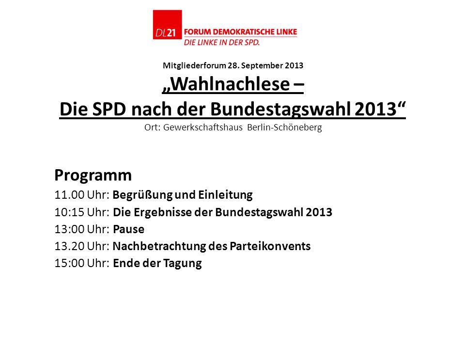 Mitgliederforum 28. September 2013 Wahlnachlese – Die SPD nach der Bundestagswahl 2013 Ort: Gewerkschaftshaus Berlin-Schöneberg Programm 11.00 Uhr: Be