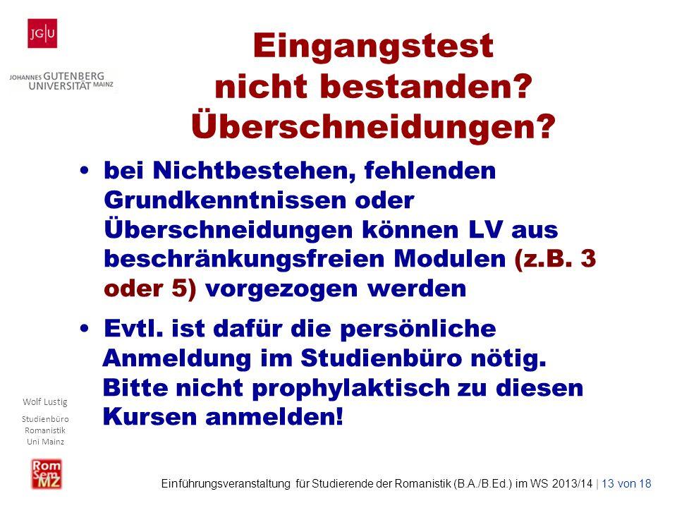 Wolf Lustig Studienbüro Romanistik Uni Mainz Einführungsveranstaltung für Studierende der Romanistik (B.A./B.Ed.) im WS 2013/14 | 13 von 18 Eingangste