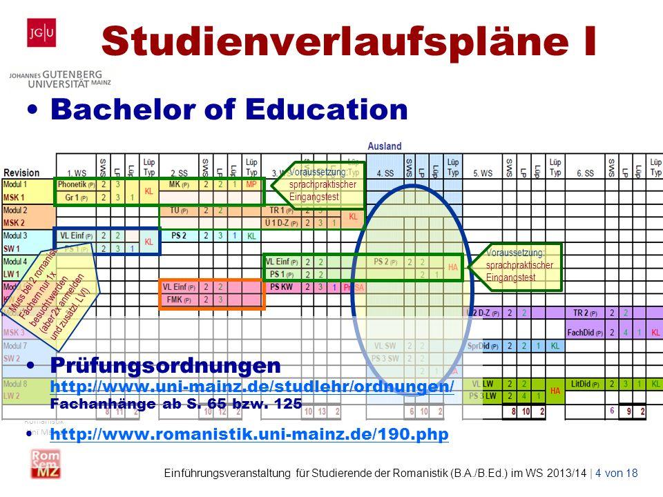 Wolf Lustig Studienbüro Romanistik Uni Mainz Einführungsveranstaltung für Studierende der Romanistik (B.A./B.Ed.) im WS 2013/14 | 5 von 18 Studienverlaufspläne II Bachelor of Arts (Kernfach) Voraussetzung: sprachpraktischer Eingangstest