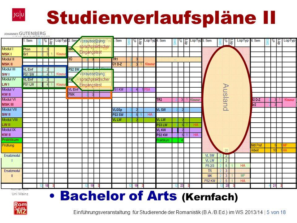 Wolf Lustig Studienbüro Romanistik Uni Mainz Einführungsveranstaltung für Studierende der Romanistik (B.A./B.Ed.) im WS 2013/14 | 5 von 18 Studienverl