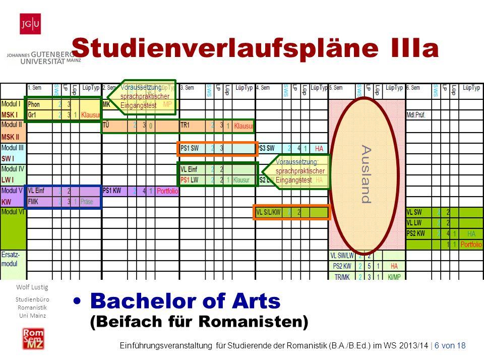 Wolf Lustig Studienbüro Romanistik Uni Mainz Einführungsveranstaltung für Studierende der Romanistik (B.A./B.Ed.) im WS 2013/14 | 7 von 18 Studienverlaufspläne IIIb Bachelor of Arts (Beifach für Nicht-Romanisten) Voraussetzung: sprachpraktischer Eingangstest