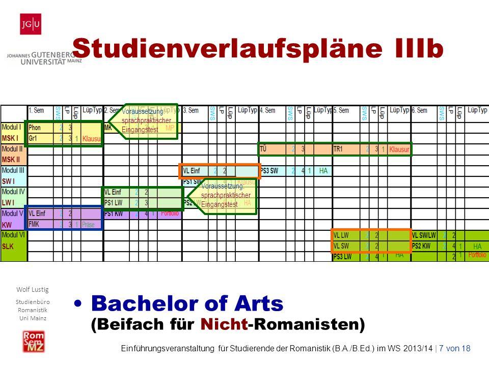 Wolf Lustig Studienbüro Romanistik Uni Mainz Einführungsveranstaltung für Studierende der Romanistik (B.A./B.Ed.) im WS 2013/14 | 7 von 18 Studienverl