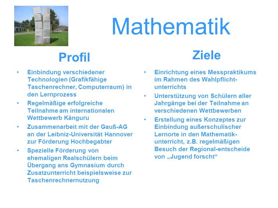 Mathematik Einbindung verschiedener Technologien (Grafikfähige Taschenrechner, Computerraum) in den Lernprozess Regelmäßige erfolgreiche Teilnahme am