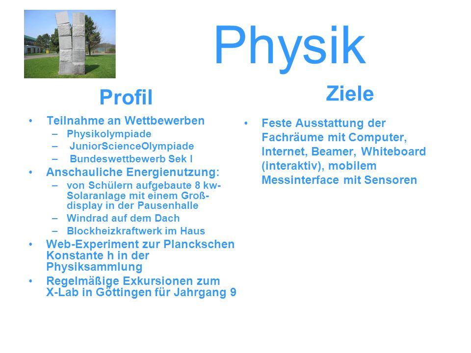 Physik Teilnahme an Wettbewerben –Physikolympiade – JuniorScienceOlympiade – Bundeswettbewerb Sek I Anschauliche Energienutzung: –von Schülern aufgeba