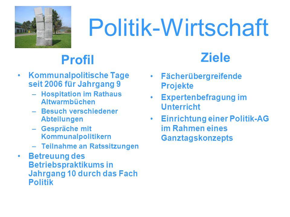 Politik-Wirtschaft Kommunalpolitische Tage seit 2006 für Jahrgang 9 –Hospitation im Rathaus Altwarmbüchen –Besuch verschiedener Abteilungen –Gespräche