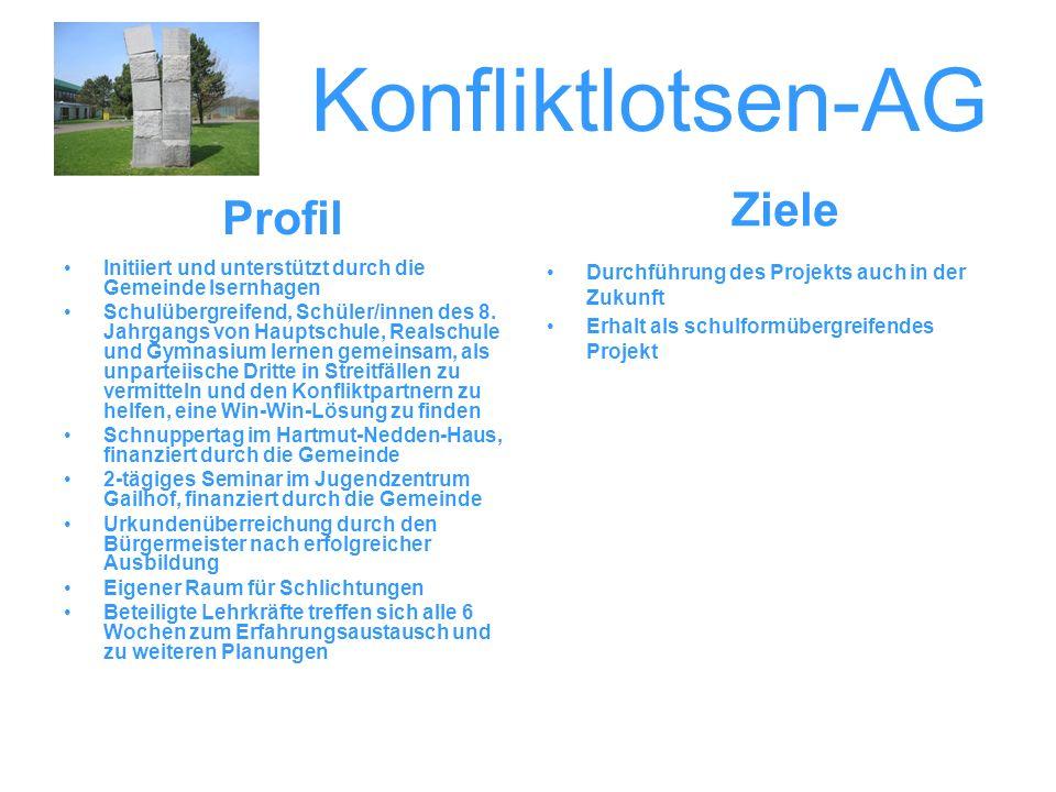 Konfliktlotsen-AG Initiiert und unterstützt durch die Gemeinde Isernhagen Schulübergreifend, Schüler/innen des 8. Jahrgangs von Hauptschule, Realschul