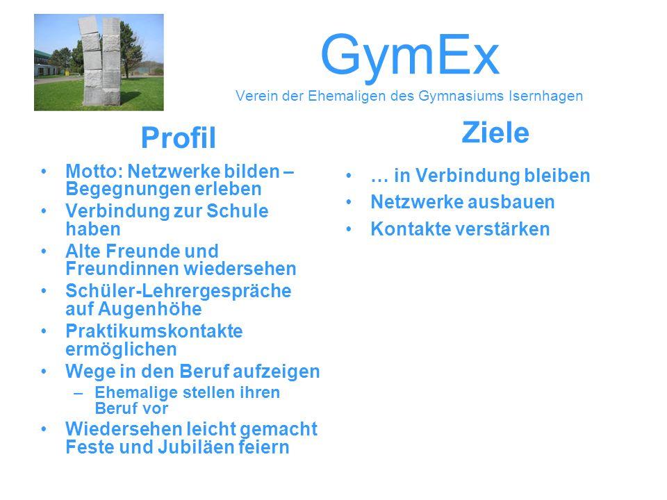 GymEx Verein der Ehemaligen des Gymnasiums Isernhagen Motto: Netzwerke bilden – Begegnungen erleben Verbindung zur Schule haben Alte Freunde und Freun