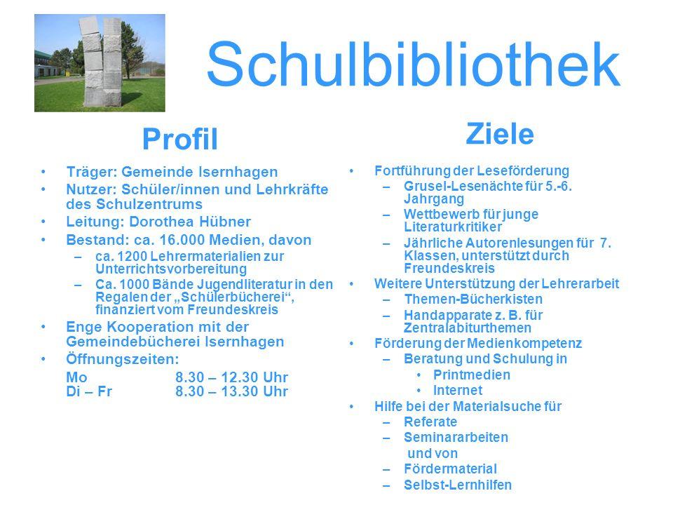Schulbibliothek Träger: Gemeinde Isernhagen Nutzer: Schüler/innen und Lehrkräfte des Schulzentrums Leitung: Dorothea Hübner Bestand: ca. 16.000 Medien