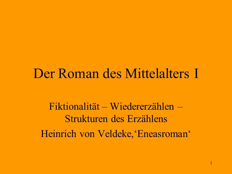 1 Der Roman des Mittelalters I Fiktionalität – Wiedererzählen – Strukturen des Erzählens Heinrich von Veldeke,Eneasroman
