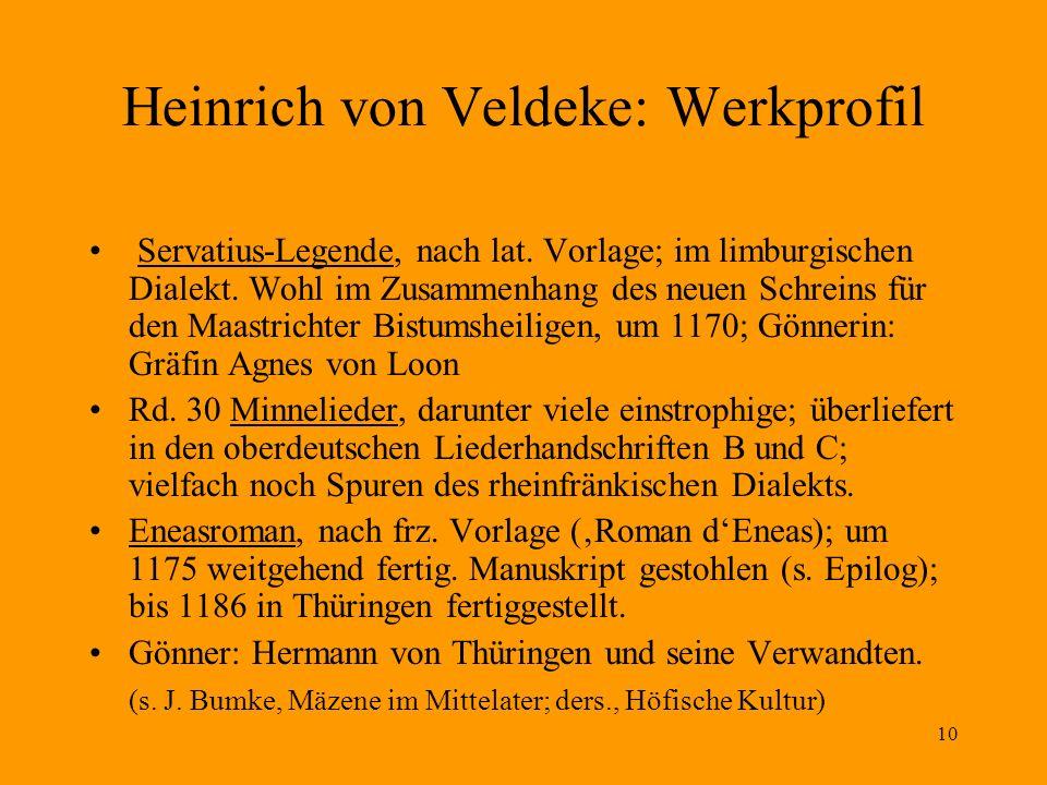 10 Heinrich von Veldeke: Werkprofil Servatius-Legende, nach lat. Vorlage; im limburgischen Dialekt. Wohl im Zusammenhang des neuen Schreins für den Ma