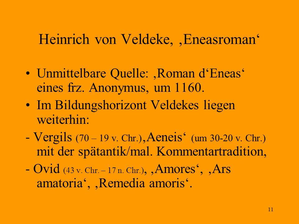 11 Heinrich von Veldeke, Eneasroman Unmittelbare Quelle: Roman dEneas eines frz. Anonymus, um 1160. Im Bildungshorizont Veldekes liegen weiterhin: - V