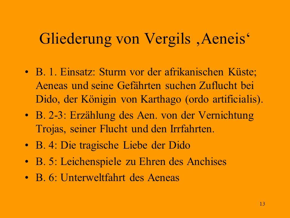 13 Gliederung von Vergils Aeneis B. 1. Einsatz: Sturm vor der afrikanischen Küste; Aeneas und seine Gefährten suchen Zuflucht bei Dido, der Königin vo