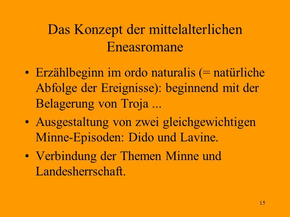 15 Das Konzept der mittelalterlichen Eneasromane Erzählbeginn im ordo naturalis (= natürliche Abfolge der Ereignisse): beginnend mit der Belagerung vo