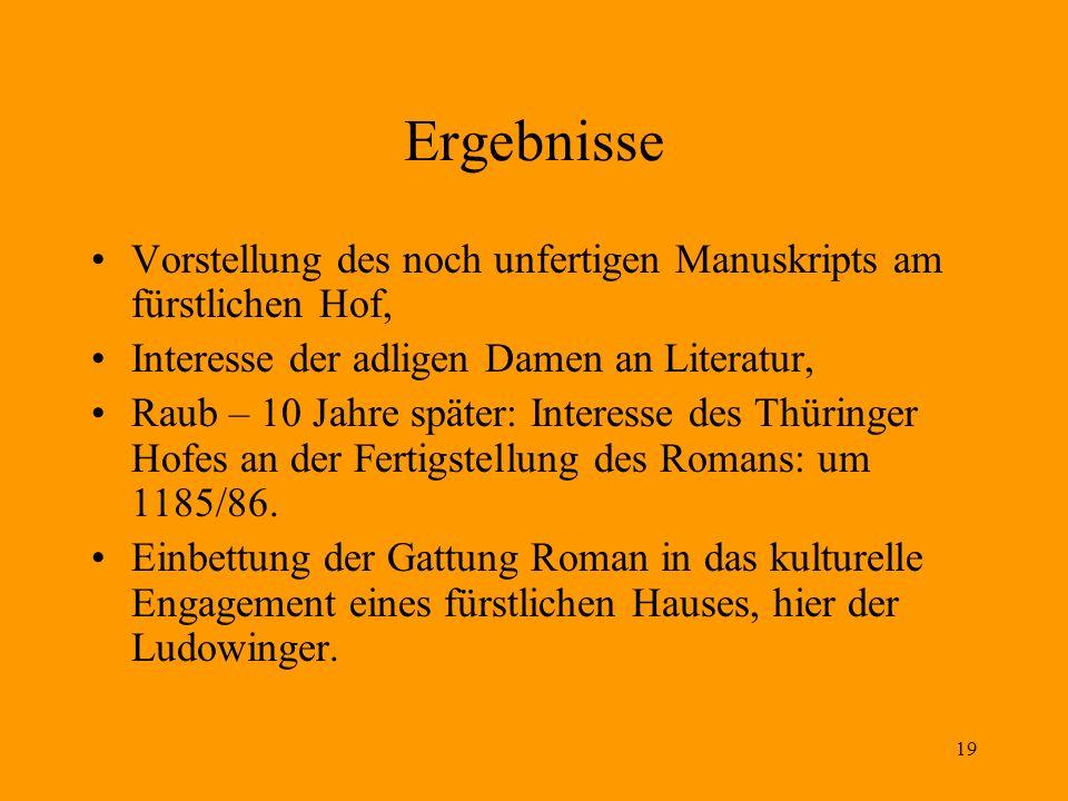19 Ergebnisse Vorstellung des noch unfertigen Manuskripts am fürstlichen Hof, Interesse der adligen Damen an Literatur, Raub – 10 Jahre später: Intere