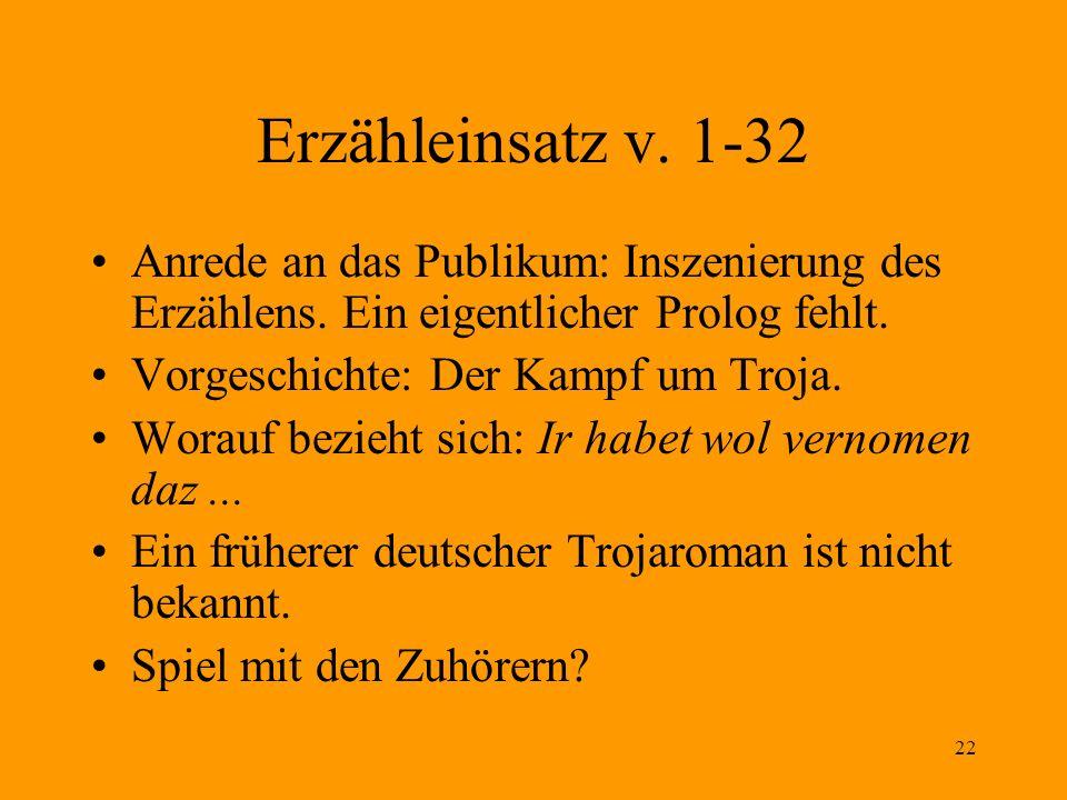 22 Erzähleinsatz v. 1-32 Anrede an das Publikum: Inszenierung des Erzählens. Ein eigentlicher Prolog fehlt. Vorgeschichte: Der Kampf um Troja. Worauf