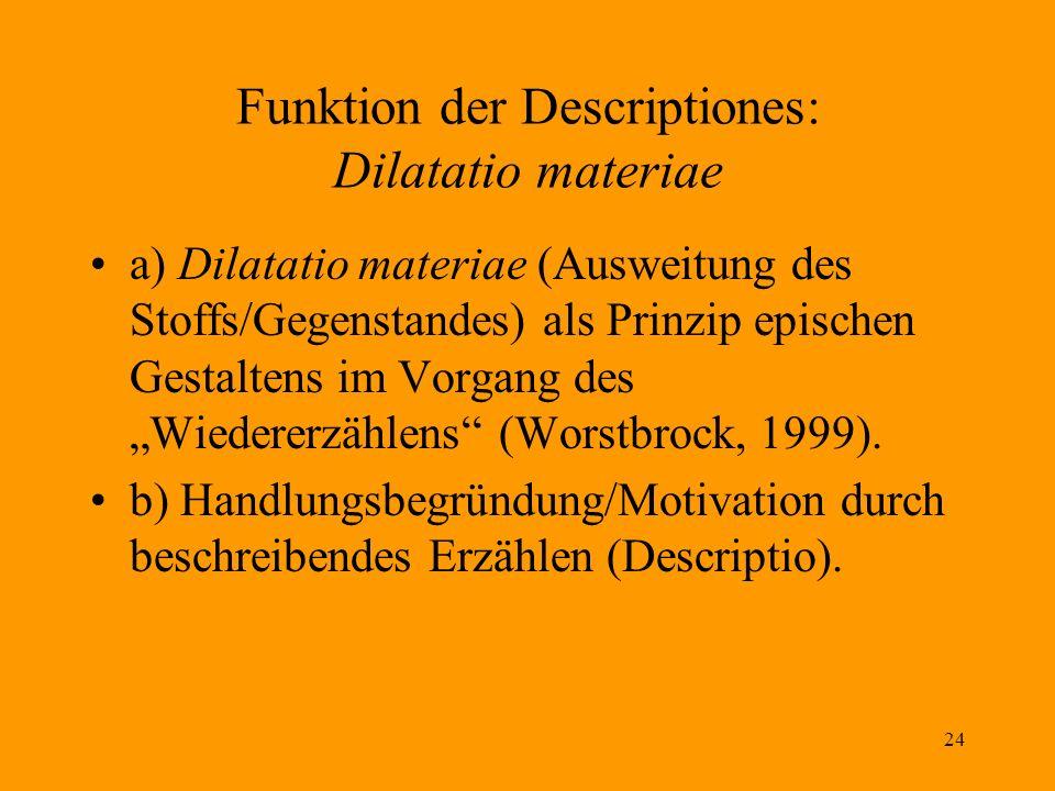 24 Funktion der Descriptiones: Dilatatio materiae a) Dilatatio materiae (Ausweitung des Stoffs/Gegenstandes) als Prinzip epischen Gestaltens im Vorgan