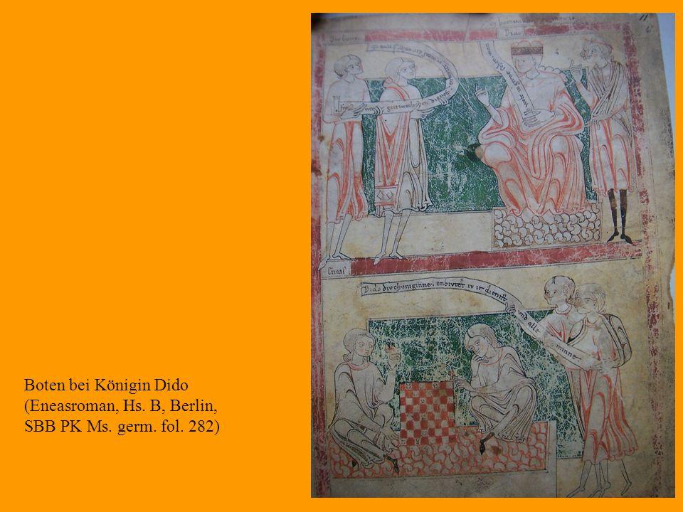 27 Boten bei Königin Dido (Eneasroman, Hs. B, Berlin, SBB PK Ms. germ. fol. 282)