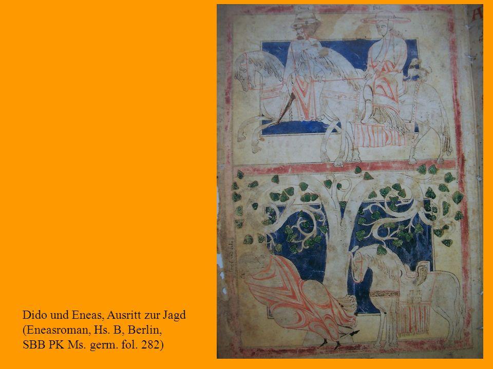 28 Dido und Eneas, Ausritt zur Jagd (Eneasroman, Hs. B, Berlin, SBB PK Ms. germ. fol. 282)